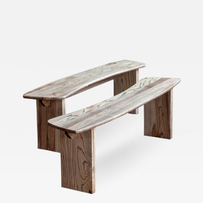 Jonathan Field Ebony Grained Ash Dining Benches