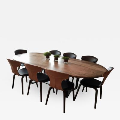 Jonathan Field Oval Pebble Edged Walnut Table on Black Waxed Steel Legs