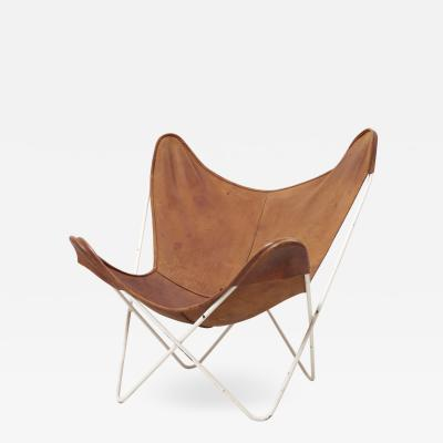 Jorge Ferrari Hardoy Antonio Bonet Juan Kurchan Mid Century Modern Butterfly Chair by Knoll International in Original Leather