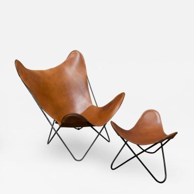 Jorge Ferrari Hardoy Butterfly Chair and Ottoman by Hardoy for Knoll