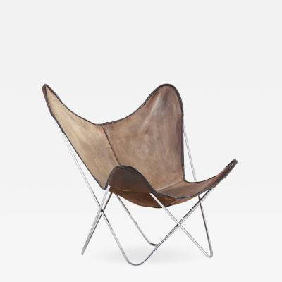 Jorge Ferrari Hardoy Chrome Hardoy Butterfly Chair by Knoll International in Original Leather 1950s