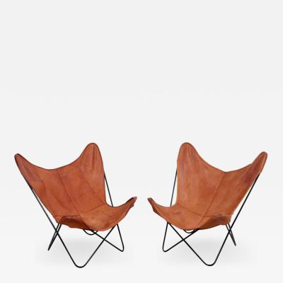 Jorge Ferrari Hardoy Rare Matched Pair of Ferrari Hardoy Butterfly Chairs for Knoll