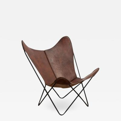 Jorge Ferrari Hardoy Whiskey Leather Knoll Butterfly Chair