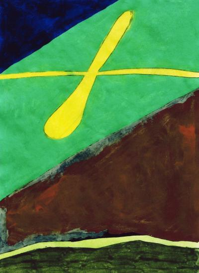 Jorge Fick Jorge Fick Untitled Acrylic on Paper 28 IX 69 in Green Navy Yellow and Brown