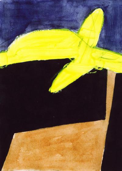 Jorge Fick Untitled Acrylic on Paper in Yellow Tan Black and Purple