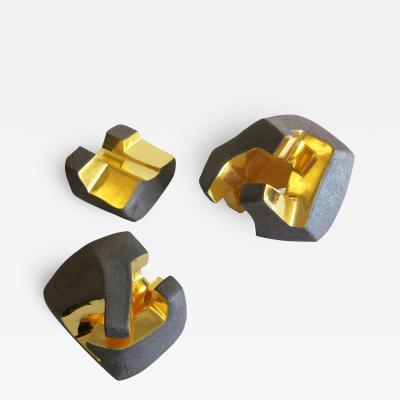 Jorge Y zpik UNTITLED CERAMIC AND GOLD sculpture 1 2 3 set