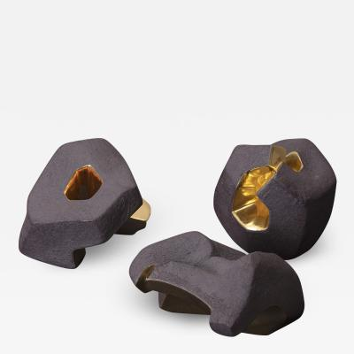 Jorge Y zpik Untitled Sin Titulo three sculptures solid clay gold plated