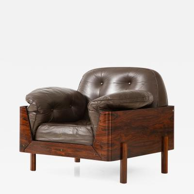 Jorge Zalszupin Brazilian Lounge Chair in Jacaranda and Brown Leather