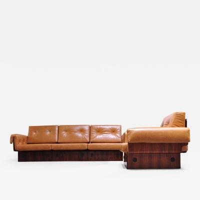 Jorge Zalszupin Brazilian Modern Rosewood and Leather Modular Sofa or Settees