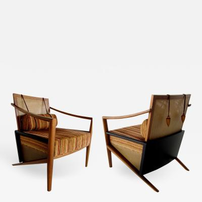 Jorge Zalszupin Pair of Brazilian Modern Armchairs with Weighted Bolsters