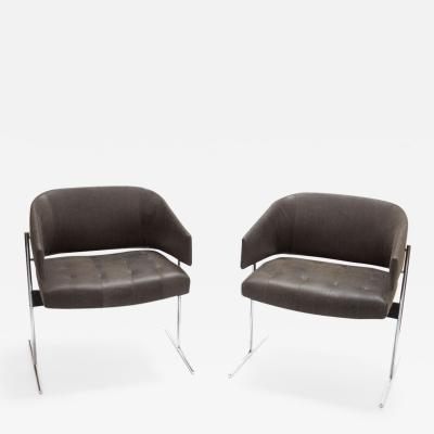 Jorge Zalszupin Pair of Grey Senior Armchairs by Jorge Zalszupin in Soft Leather Brazil 1960