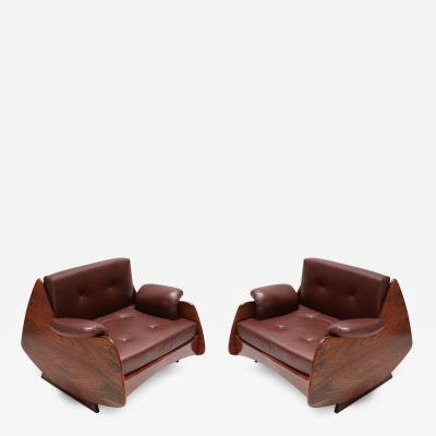 Jorge Zalszupin Pair of Jorge Zalszupin 1960s Brazilian Jacaranda Lounge Chairs