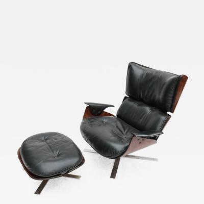 Jorge Zalszupin Zalszupin 1960s Brazilian Jacaranda Paulistana Chair and Ottoman