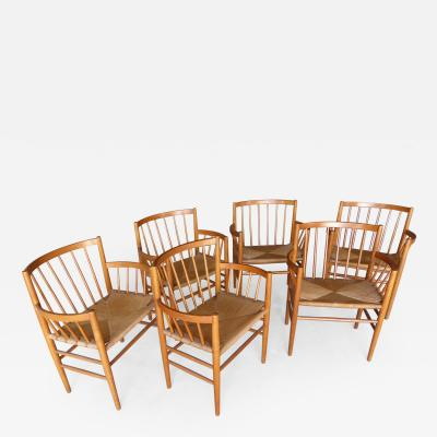 Jorgen Baekmark Set of Six 1950s Danish Oak Dining Armchairs by J rgen B kmark for Fdm M bler