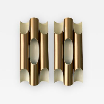 Jorgen Mogensen Pair of Maxi Fuga Sconces Gilt Metal by Komulainen for Raak Amsterdam 1970s