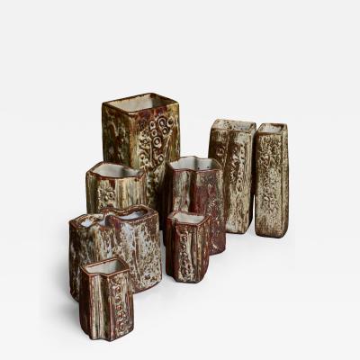 Jorgen Mogensen Set of seven ceramic Jorgen Mogensen vases Denmark 1970s