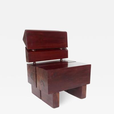 Jos Zanine Caldas Sculptural Low Brazilian Organic Modernist Design Vintage Rosewood Chair