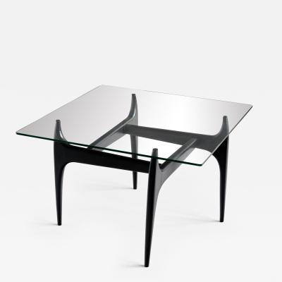 Jos de Mey Jos De Mey Coffee Table in Black Lacquered Wood Luxus Kortrijk Belgium 1957