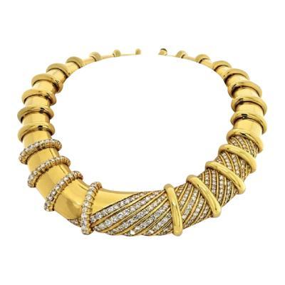 Jose Hess JOSE HESS 18K YELLOW GOLD IMPRESSIVE DIAMOND BIB COLLAR HEAVY NECKLACE