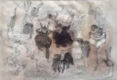 Jose Luis Cuevas Framed Drawing by Mexican Artist Jose Luis Cuevas