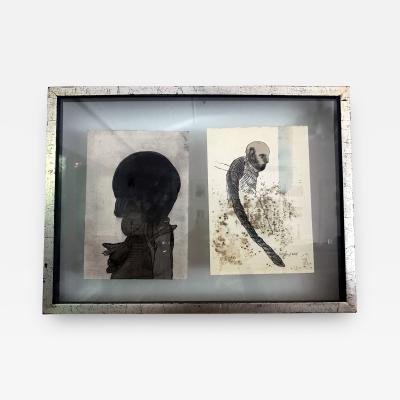 Jose Luis Cuevas Framed of Two Work on Paper by Jose Luis Cuevas