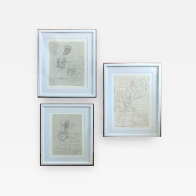 Jose Luis Cuevas Group of Three Works on Paper by Jose Luis Cuevas framed