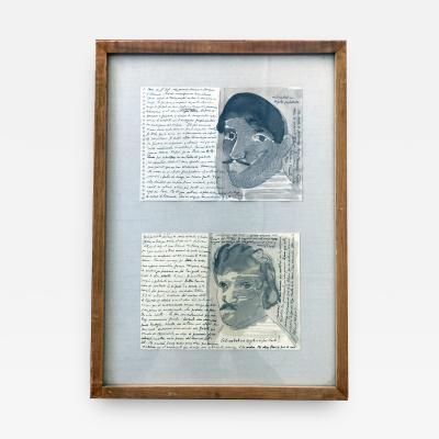 Jose Luis Cuevas Pair of Works on Paper by Jose Luis Cuevas framed