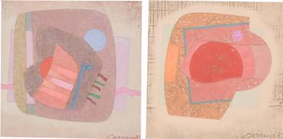 Jose Luis Serrano Abstract Mixed Media Pair Small Art Works by Jose Luis Serrano Mexico 80s
