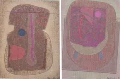 Jose Luis Serrano Jose Luis Serrano Mexico City 1980s Pair Abstract Art Paintings Mixed Media