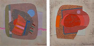 Jose Luis Serrano Jose Luis Serrano Pair of Abstract Paintings Colorful Mixed Media Art 1982