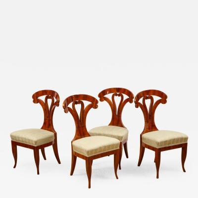 Josef Danhauser A Superb Set of 4 Biedermeier Side Chairs Attributed to Josef Danhauser