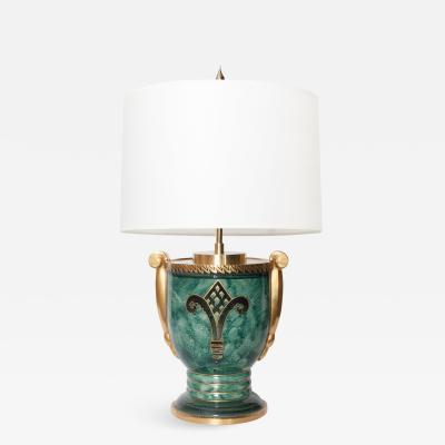 Josef Ekberg JOSEF EKBERG SWEDISH ART DECO LAMP AND HAND DECORATED IN GOLD