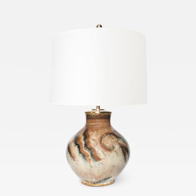 Josef Ekberg SWEDISH ART DECO CERAMIC LUSTER GLAZE LAMP JOSEF EKBERG