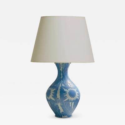 Josef Ekberg Table lamp with sgraffito botanical design by Josef Eckberg