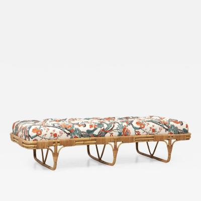Josef Frank 1950s Basket Daybed in a Josef Frank Style Fabric