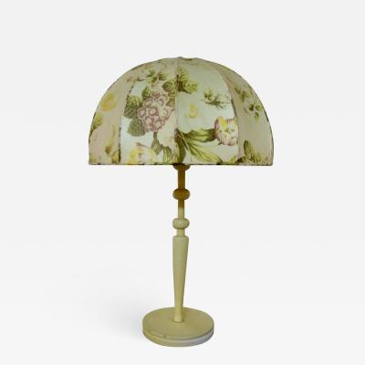 Josef Frank Large art deco table lamp with cream colored floral fabric screen