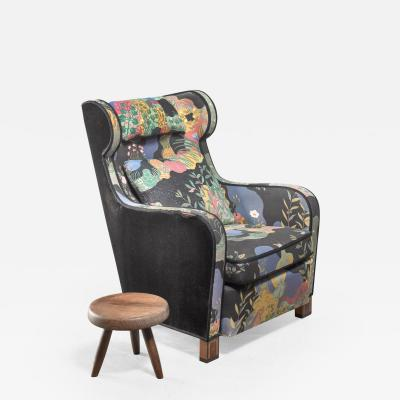 Josef Frank Modernist wingback chair with Josef Frank upholstery