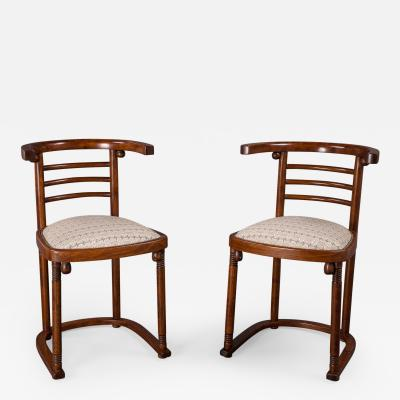 Josef Hoffmann A Pair of Josef Hoffmann Die Fledermaus Chairs