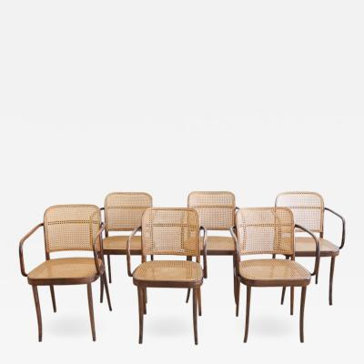 Josef Hoffmann Bentwood and Cane Armchairs Set of 6