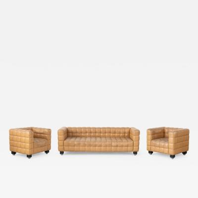 Josef Hoffmann Leather Kubus 8020 sofa and 2 armchairs designed by Josef Hoffman for Wittmann
