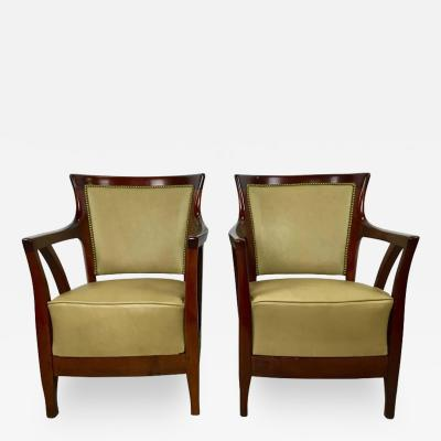 Josef Hoffmann Pair of Walnut and Leather Vienna Secessionist Club Chairs