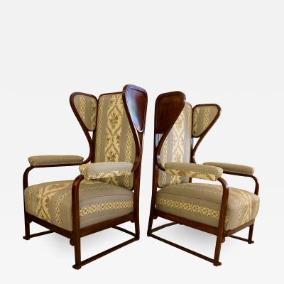 Josef Hoffmann Rare Pair of Josef Hoffmann Wingback Chairs