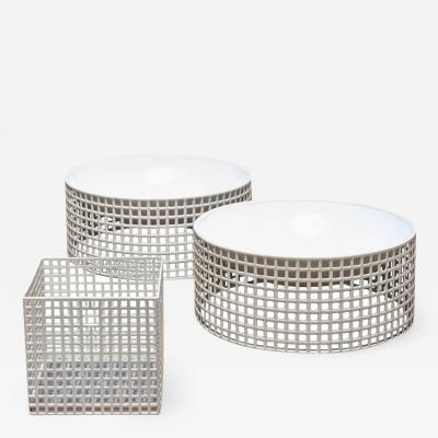 Josef Hoffmann Set of Three Centerpieces by Josef Hoffmann for Bieffeplast