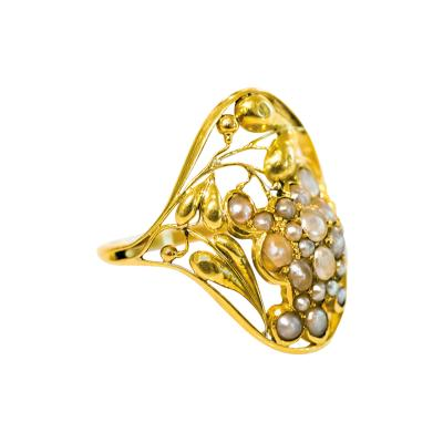 Josef Hoffmann Unique Gold and Freshwater Pearl Ring Josef Hoffmann Wiener Werkstatte 1912
