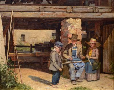 Josef Mansfeld Visiting the Saw Mill Late Afternoon