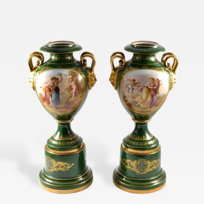Josef Riedl Geisshubel 1890s Fine Pair of Vienne Porcelain Vases with Classical Scenes