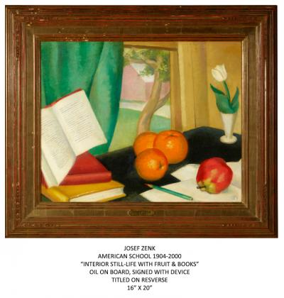 Josef Zenk INTERIOR STILL LIFE WITH FRUIT BOOKS