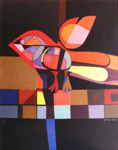 Josep Garcia Llort Colorful Lithograph Titled Pajaro Gordito by Garcias Llort