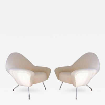 Joseph Andre Motte J A Motte Pair of Lounge Chairs model 770 by Steiner Newly Covered in Alpaca