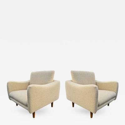 Joseph Andre Motte J A Motte for Steiner Pair of Lounge Chair model Teckel Newly Reupholstered